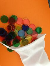100pk Coloured Transparent Maths Games Counters Round (20mm) In Drawstring Bag