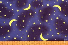 MOON & STARS ON NAVY BACKGROUND - PRINTED POLY COTTON FABRIC
