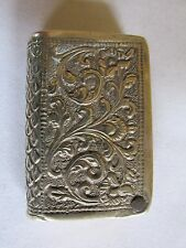Antique silver match safe or vesta match striker In the form of a Book