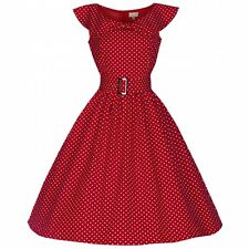 LINDY BOP NEW VINTAGE 50'S STYLE HETTY RED POLKA ROCKABILLY PARTY DRESS SIZE 16