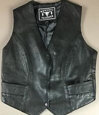 Barney's Leather Vest Women's/ Youth Size 36 Snap Front Motorcycle Biker #H0008