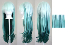 28'' Long Straight Layered Fade Green Cosplay Wig