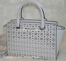 NWT! MICHAEL KORS Selma Medium Satchel Leather Bag Purse Floral White $328