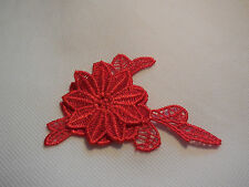 Small double layers Red floral lace Applique / lace motif is for sale. 9cm x 6cm