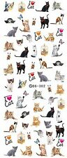 Cute Cats Black Ginger Kittens Water Transfers Nail Art Sticker Decals UV Gel