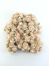 50 PCS PASTEL PEACH PINK MULBERRY PAPER ROSES FLOWERS LOVE CARD WEDDING 15mm