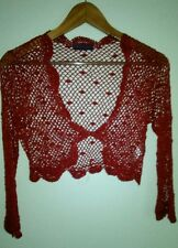 DEBUT AT DEBENHAMS Ladies Red Crocheted Occasion Shrug Size 12 EU 40