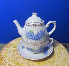 DeBelly Romania Handmade/painted Individual Teapot cup & saucer. Forget me Nots.