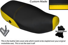 YELLOW & BLACK CUSTOM FITS PIAGGIO VESPA LX 125 DUAL LEATHER SEAT COVER