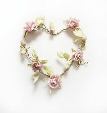 ROSE GARLAND PINK HEART WREATH WEDDING DECORATION CHIC & SHABBY FLOWERS