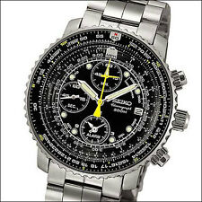 Seiko Black Flightmaster Chronograph Watch, Slide-Rule Bezel, Alarm #SNA411P1