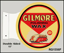 Retro Gilmore Polishing Wax Motor Oil Double Sided Flange Sign