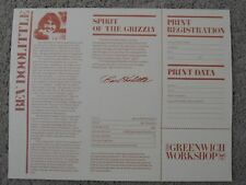 """Bev Doolittle """"SPIRIT OF THE GRIZZLY"""" Certificate of Authenticty/Registration"""