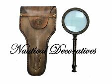 Antique Magnifier Brass Magnifying Glass~Vintage Nautical Table decor with case