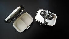 Elephant Head Pewter Effect Emblem On a Silver Metal Pill Box