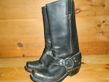1990's Unknown Brand Black Leather Bike Boots Women's Size 6 1/2 M Used- Good