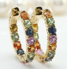 6.00CTW Natural Ceylon Multi-Color Sapphire in 14K Yellow Gold Women Earrings