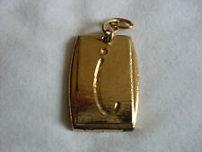 Gold Coloured Rectangle Initial Letter i Necklace Pendant (3.6 x 2.6cm)