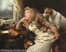 No Ride Today by C Barber 8x10 Print Girl Rain Collie Jack Russell Terrier  50