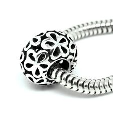 FLOWERS filigree rondelle - Solid 925 sterling silver European charm bead