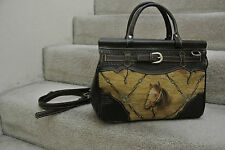 Rare 80s AMERICAN WEST Handbag Embroider HORSE Convertible Genuine Leather Bag