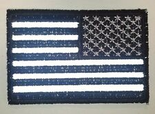 "(B31) Reversed REFLECTIVE BLACK & WHITE US FLAG 3"" x 2"" iron on patch (3688)"