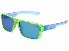 Under Armour UA Recon Men's Sunglasses Crystal Lime Green Frame Blue Mirror Lens