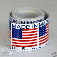 300 LABELS 1x1 MADE IN THE USA FLAG AMERICA SHIPPING MAILING STICKERS ROLLS