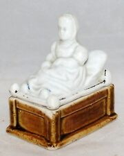 ANTIQUE STAFFORDSHIRE PORCELAIN FAIRING COVERED TRINKET BOX BABY YOUNG GIRL BED