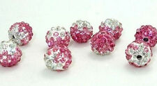 10 Colorful Czech Crystal Rhinestone Pave Clay Round Disco Ball Spacer Bead 10MM