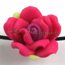 30x Wholesale Charms Rose Red Flower Fimo Beads Fit Jewelry Making 15mm 110488+