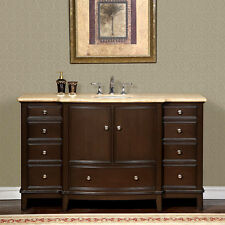 60-inch Travertine Stone Counter Top Bathroom Single Sink Vanity Cabinet 0237TR
