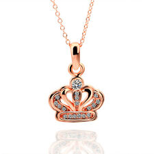 18k Rose Gold Plated Royal Crown Pendant Necklace w Swarovski Rhinestone Crystal