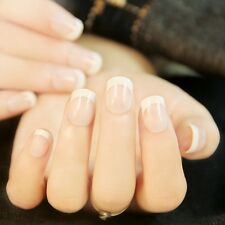 24pcs New Manicure French Short Full 3D False Fake Nails Art Tips Sticker Glue