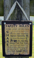 Family Rules Hanging Wall Sign Plaque Primitive Rustic Lodge Cabin Decor