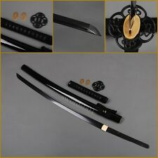Battle ready black blade damascus steel  full Tang Japanese katana samurai sword
