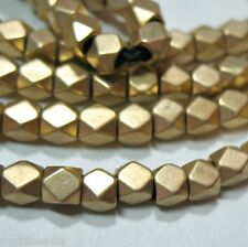 "Bright GP Gold Plated 4x4mm Faceted Square Nugget Beads 8.5"" 2mm Large Bead Hole"