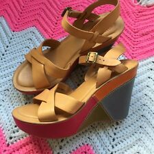 leather patchwork womens kork ease wedge sandals sz 9 multi color tan