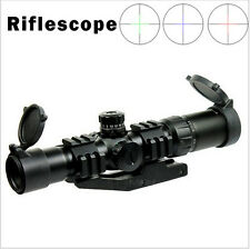 1.5-4x30 Rifle Scope Chevron Reticle Offset Weaver Mount Ring Fit .223 5.56mm