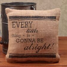 """'Every Little Thing Is Gonna Be Alright' Stenciled Burlap 8"""" Accent Pillow"""