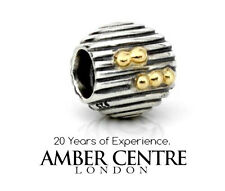 Genuine Pandora 925 ALE Silver Charm with 14ct Gold - Ebb and Flow - 790306