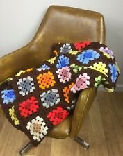 Brown Multi Color Granny Square Vintage Wool Blend Handmade Afghan Lap Throw