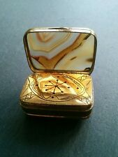 Antique 19th Century Georgian Agate and Gilded Metal Vinaigrette Collectable