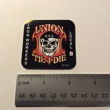 Ironworkers Local 8 Union Sticker Decal Labor Hard Hat Truck Toolbox Lunchbox