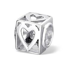 925 Sterling Silver Love Heart Cut Out Cube Bracelet Charm Bead Gift Boxed B519
