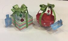 Roman Lot Of 2 Metal Christmas Present Gift Baskets Tree Ornaments NWT