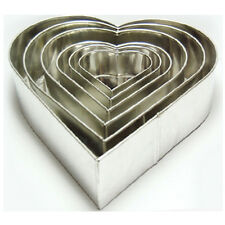"SET OF 6-PIECE HEART SHAPE CAKE BAKING PANS BY EURO TINS 6""-16"" (3"" DEEP)"