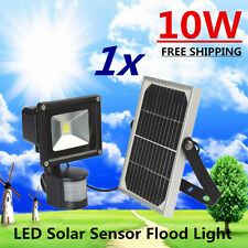 10W LED Ultra Bright Solar Powered w/ Motion Sensor Security Garden Flood Light