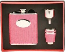 7oz Pink Leather Wrap Stainless Steel Liquor Flask, Funnel, 2 Shot Cup Gift Set
