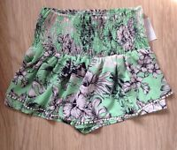 ZARA SHORTS size S 6 8 White FLORAL Pom Pom detail BNWT Green Black